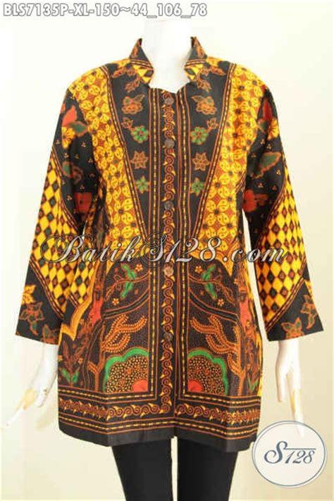 Blus Batik Shanghai Panjang 78 baju batik atasan wanita kantor blus batik klasik motif sinaran lenga panjang pakai kerah
