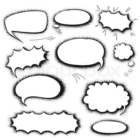 set of empty graphic black and white comics speech bubbles