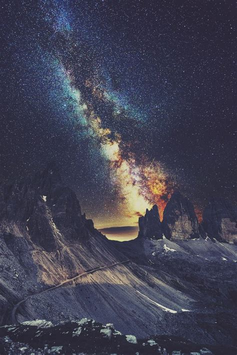 galaxy wallpaper landscape favorite galaxy landscape mountains nature night sky