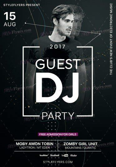flyer design dj guest dj party psd flyer template 19884 styleflyers
