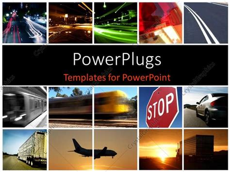 Powerpoint Template A Collage Depicting Different Modes Of Transport 30051 Powerpoint Templates Transportation