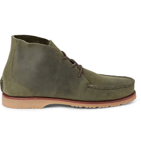 quoddy shoes quoddy nubuck chukka boots in green for lyst