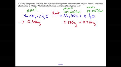 formula x hydration unknown hydrate determination chemistry sle problem