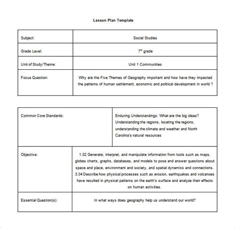 common core lesson plan template 9 free sle exle