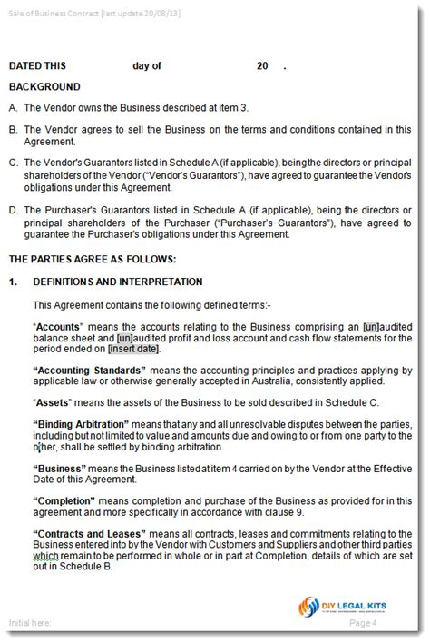 sale of business agreement template contract for the sale of business as a going concern