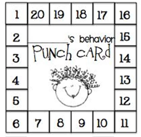 Behavior Punch Card Template by 8 Best Images Of Printable Punch Cards Positive Behavior