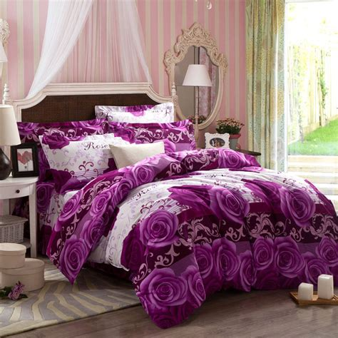 Bedding King Size Sets Thick Warm Purple Comforter Sets Hemming Duvet Cover King Size Big Flower Series Bedding