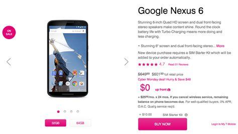 nexus 6 mobile t mobile knocks 50 a nexus 6 for cyber monday