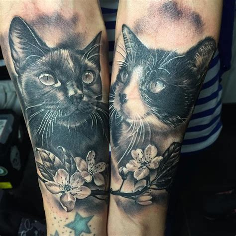 cat tattoo black and grey mystic eye tattoo tattoos realistic gatos realistas
