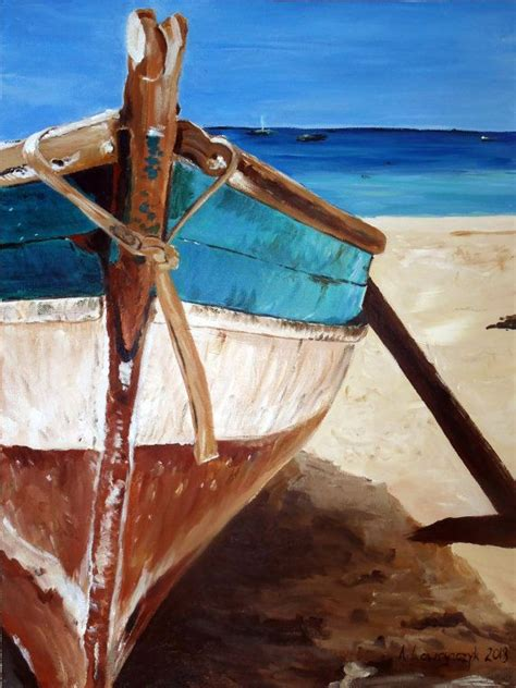 boat pictures pinterest original painting canvas seascape boat rustic by