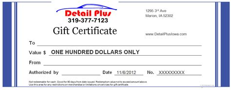 automotive gift certificate template detail plus iowa auto detailing marion cedar rapids