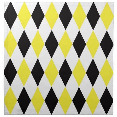 yellow diamond pattern black white yellow harlequin diamond pattern napkin zazzle