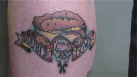 double down tattoo some dude got a of a kfc yes a