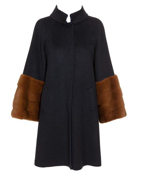cashmere swing coat fendi cashmere swing coat with mink fur cuffs in blue