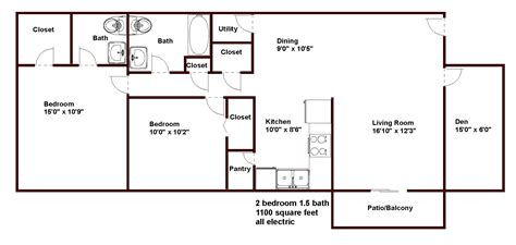 1100 sq ft floor plans pricing