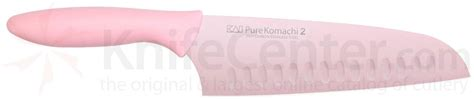 komachi 2 series hollow ground santoku knife komachi 2 series pink 6 1 2 quot hollow ground