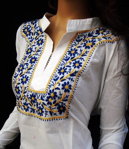 Handmade Dress Shirts - designer snow white tunic top salwar kameez shirt womens