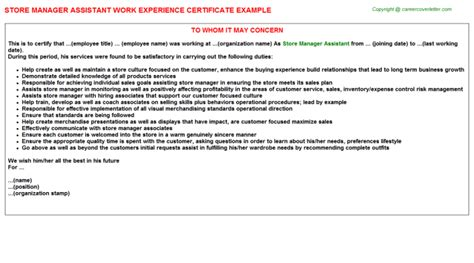 Storekeeper Experience Letter Format store manager assistant work experience certificate