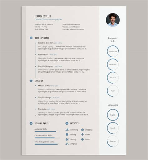 Free Cv Template Design 20 best free resume cv templates in ai indesign psd