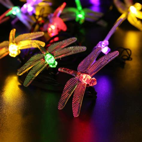 Dragonfly String Lights Outdoor 35 Icicle Outdoor Dragonfly Solar String Lights 16ft 20 Led 8 Modes Waterproof