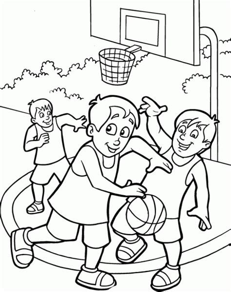 dibujos niños jugando baloncesto ni 241 os jugando basquetbol para colorear imagui