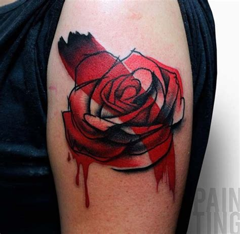 bloody rose tattoo flower shoulder in original technique with