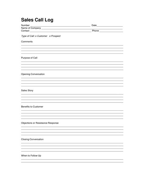 Sales Log Sheet Template Sales Call Log Template Call Log Pinterest Template Logs And Server Maintenance Email Template Sle
