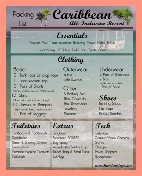 packing list  resort vacation packing list