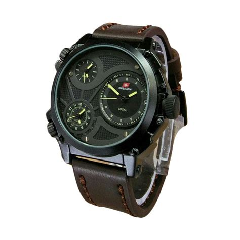 Jam Tangan Pria Swiss Army 3035 Leather Brown Yellow By Deyostore jual swiss army infantry jam tangan pria leather sa 6038 brown harga