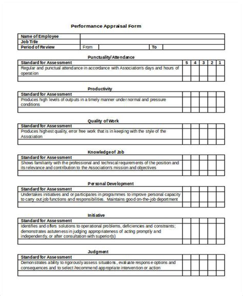 employee performance appraisal form 40 simple appraisal forms sle templates