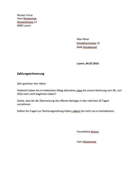 Rechnung Frist Schweiz Zahlungserinnerung Vorlage Muster Und Vorlagen Kostenlos