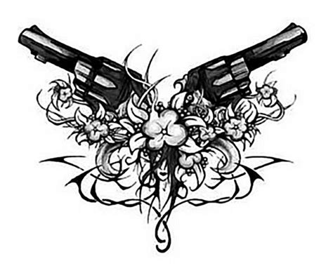 tribal gun tattoo tribal design wth gun and flowers