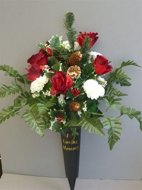 silk flowers for cemetery vases spike vase with roses white carnations artificial grave flower pots