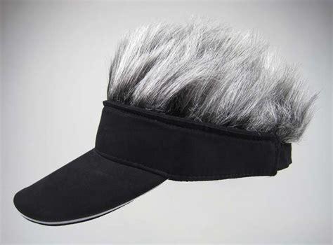 spiked grey hair hat visor grey spikey wig hair hat black