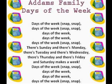 what is the day today of week family days of the week days of the week rhymes