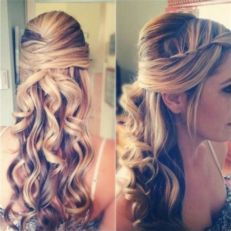prom hairstyles curls down curly prom hairstyles half up half down with braid