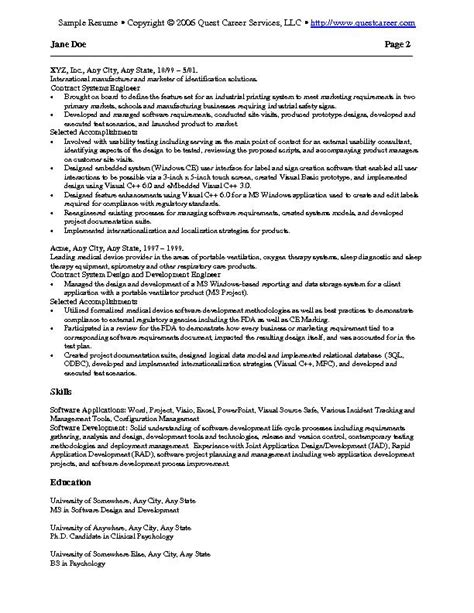 Exle It Resumes by Sle Resume Exle 2 It Resume Software Development Resume Technical Resume