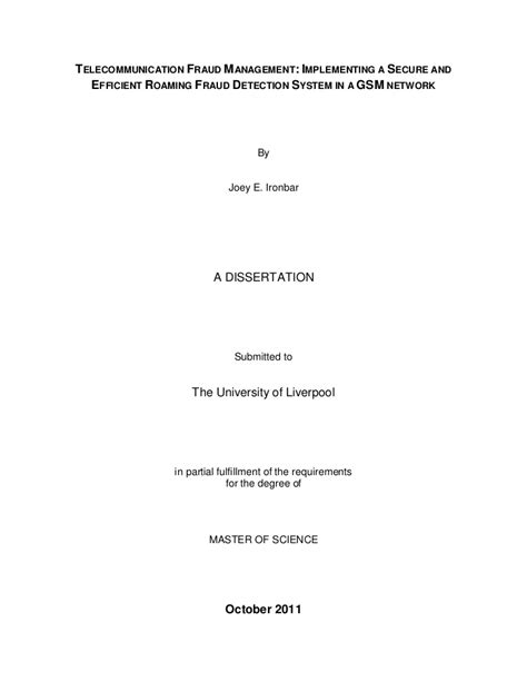 This Thesis Is Submitted In Partial Fulfilment by My Dissertation In Partial Fulfillment Of The