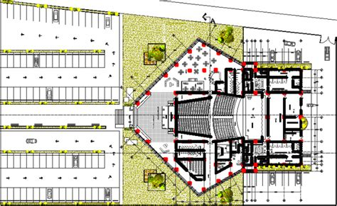 layout plan details auditorium layout plan with car parking dwg file