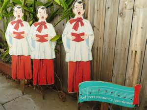 vintage outdoor christmas carolers set 4 foot 4 pc wooden