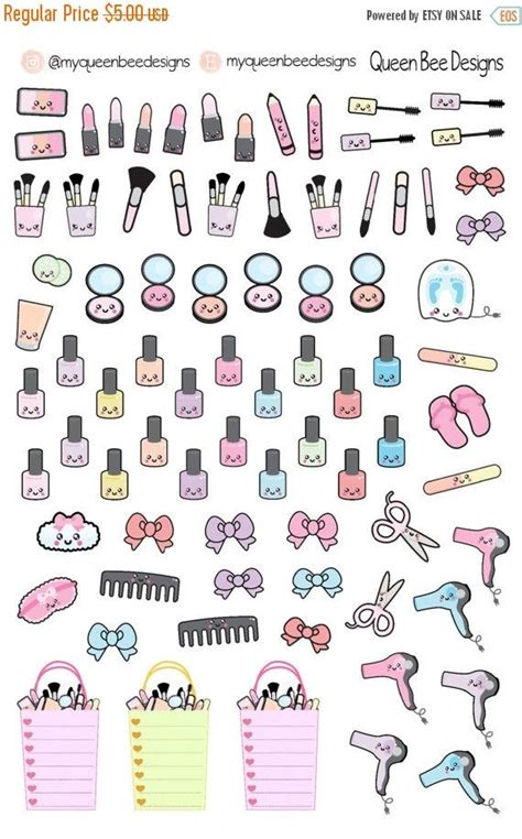kawaii stickers planner printable to do to go to buy to clean huge sale kawaii beauty sler planner by