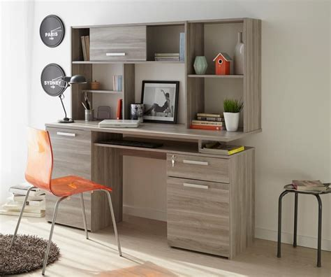 Modern Study Desk Perseo Modern Study Desk In Silex Oak Wood Effect Finish With Top Shelves