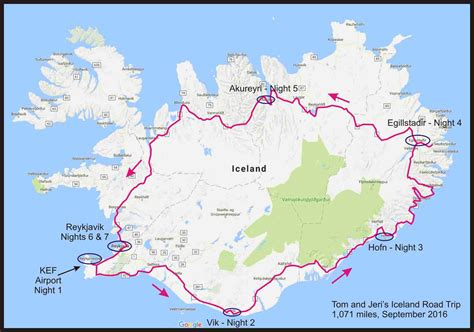 driving route map iceland road trip september 2016