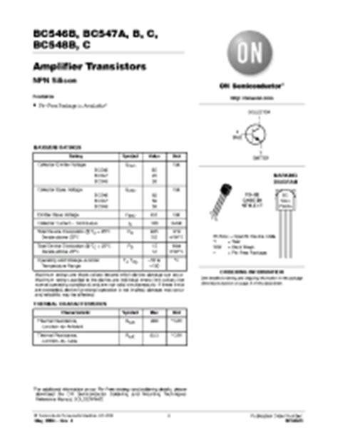 transistor bc547c datasheet bc547c on semiconductor lifier transistors npn silicon документация и описания электронных