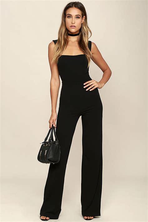 Jumsuit Black stylish black jumpsuit sleeveless jumpsuit wide leg