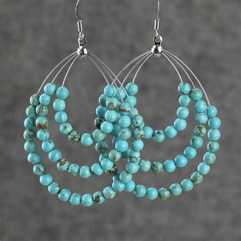 Earring Handmade - turquoise big tear drop hoop earrings by annidesignsllc on