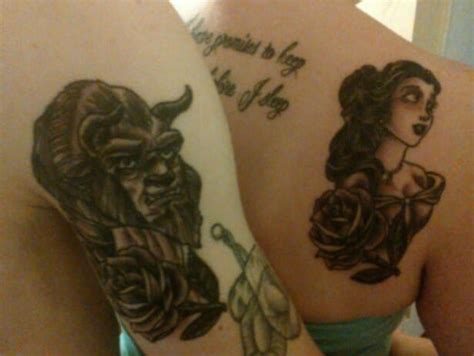 beauty and the beast couple tattoo disney tattoos that are completely magical obsev