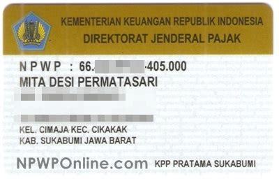 contoh kartu npwp pribadi npwp