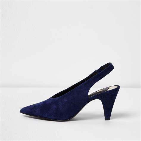 Miss Selfridges Blue Suede Sling Back by Lyst River Island Navy Suede Slingback Kitten Heel Shoes