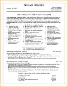 Building Manager Sle Resume by 4 Construction Project Manager Resume Sles Inventory Count Sheet